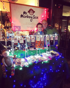 Mr Monkey Sox stand outside Heirloom at the Teddington Christmas Lights Up 2018. They sold a staggering 103 pairs of socks on the night in aid of Multiple Sclerosis