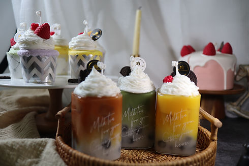 Handmade cupcake candles and bubble tea candles artwork by Happy Together in Singapore