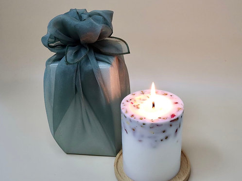 Flower Candle - 320g with Bojagi Packaging