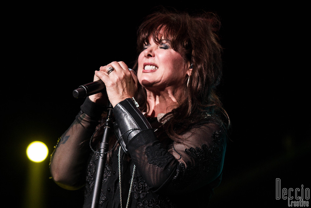 "Ann Wilson of Heart belts out her classic hit ""Magic Man"" during their sold out show at Auburn's White River Amphitheater. (Photo by Xander Deccio/Deccio Creative)"
