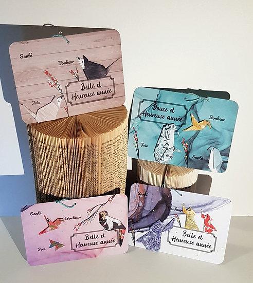 """Cartes graphiques origamis """"Belle et heureuse année"""