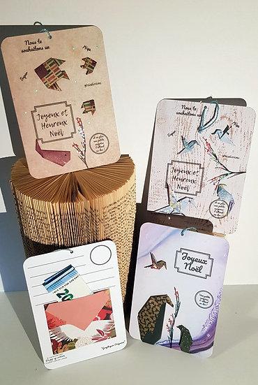 "Cartes porte billets ""Joyeux Noël"""