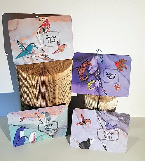 """Cartes graphiques origamis """"Joyeux Noël"""""""