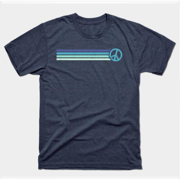 Retro Peace Stripes - Vintage Blue Shirts & Gifts