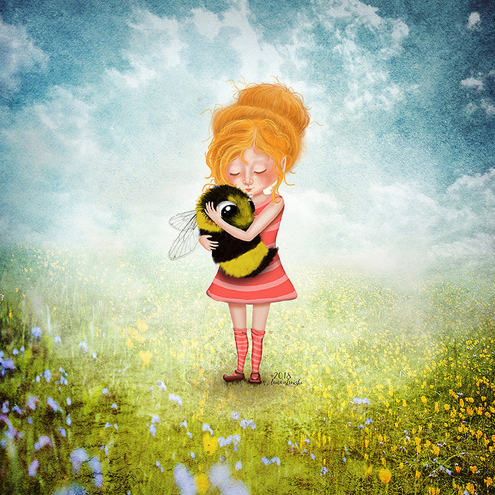 Cute, surreal, whimsical artwork of a beehive-haired girl hugging a larger than life bee. #beeart #beehugger #beewhisperer #savethebees #savebees