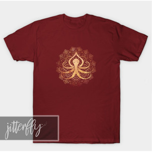 Golden Zen Octopus Meditating Shirts & Gifts