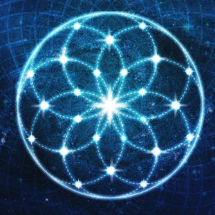 Blue Cosmic Geometric Flower Mandala
