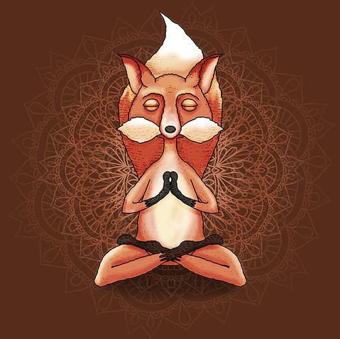 Zen Fox Meditating with Mandala