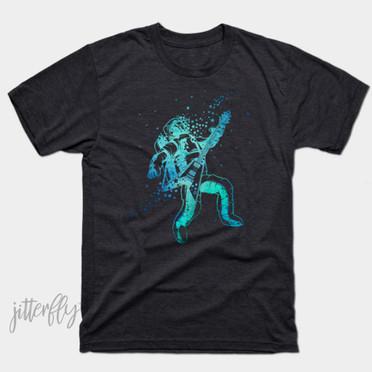 Astronaut Playing Guitar Blue