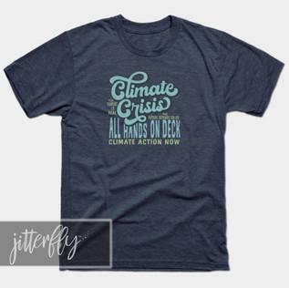 Climate Crisis Retro Blue T-shirt