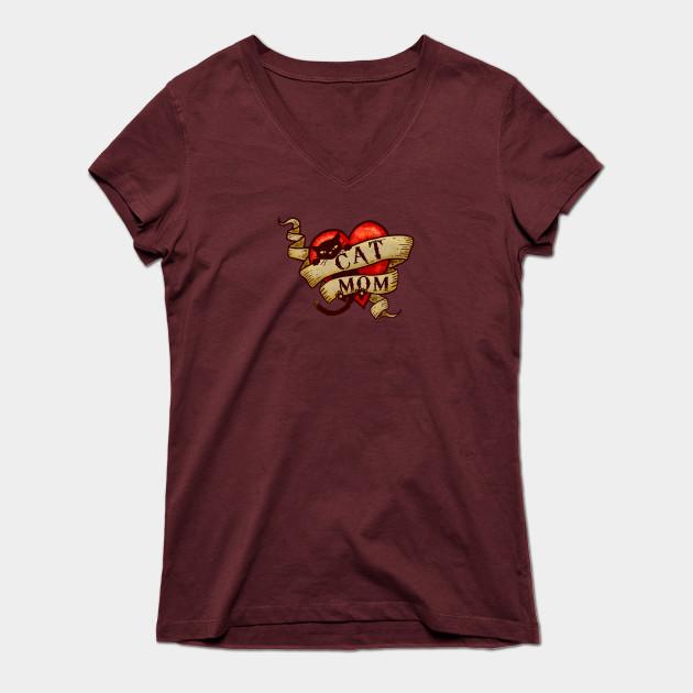 Cat Mom V-Neck T-shirt