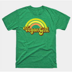 Vegan Girl Retro Rainbow t-shirt