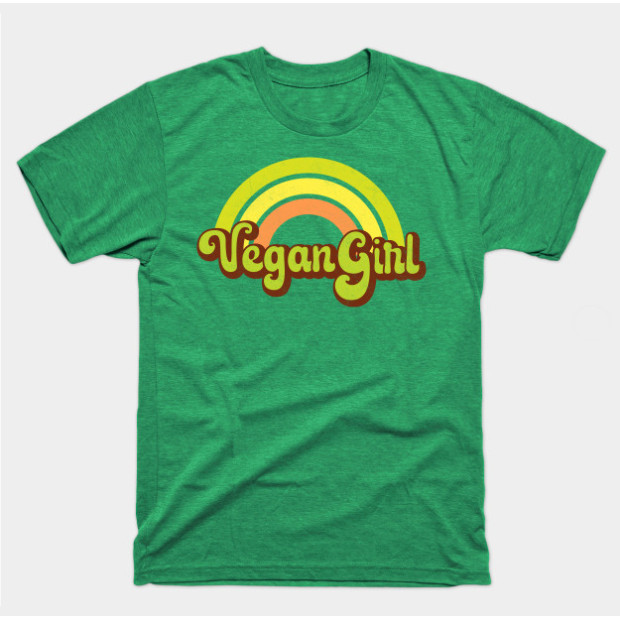 Vegan Girl Retro Rainbow t-shirt