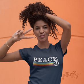 Peace Retro Rainbow 70s Stripes
