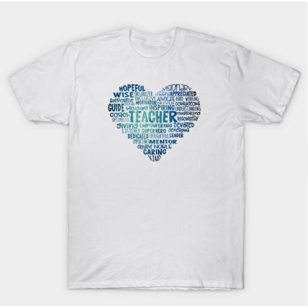 Love Teacher Heart Word Cloud Blue t-shirt
