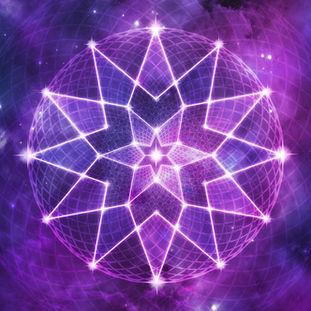 Cosmic Purple Geometric Seed of Life Crystal Lotus Star Mandala