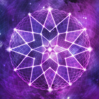 Cosmic Purple Geometric Seed of Life Crystal Lotus Star Mandala