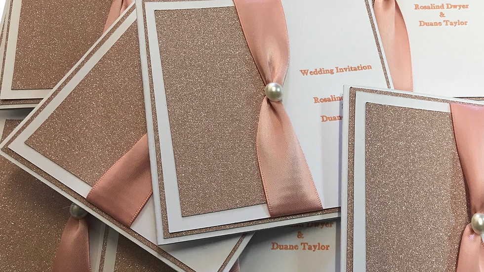 Rose Gold Wedding Invitation Cards