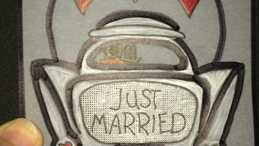 Just Married Parchment Card