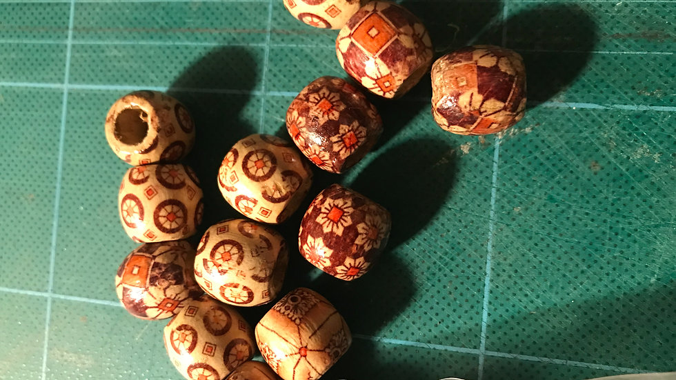 Hand painted Wooden Craft Beads