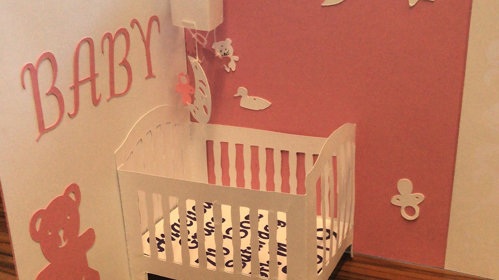 Baby pop up Crib card