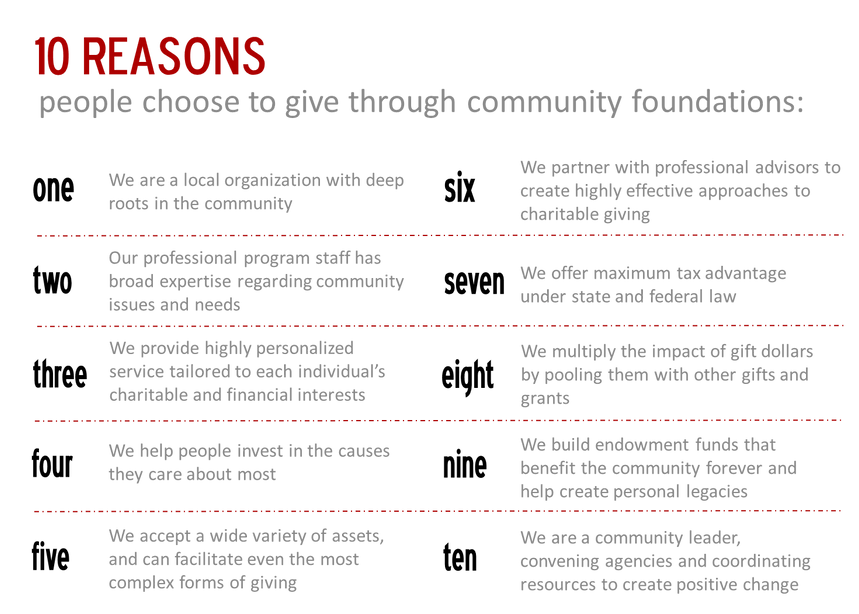 10 Reasons People Choose to Give Through Community Foundations