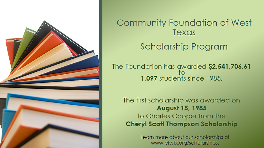 The Foundation has awarded $2,541,706.61 to 1,097 students since 1985. The first scholarship was awarded on August 15, 1985 to Charles Cooper from the Cheryl Scott Thompson Scholarship.