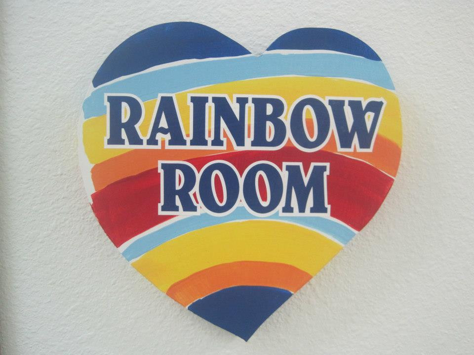Rainbow Room heart shaped sign