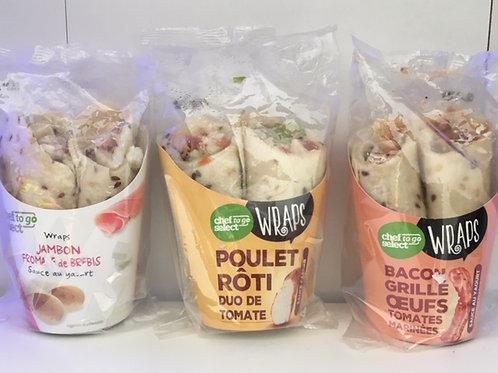 Wraps (Poulet rôti, Bacon grillé, oeuf)