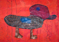 1st grade; collage, paint, crayon