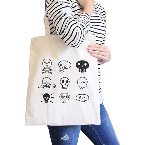 Skulls Natural Canvas Bags