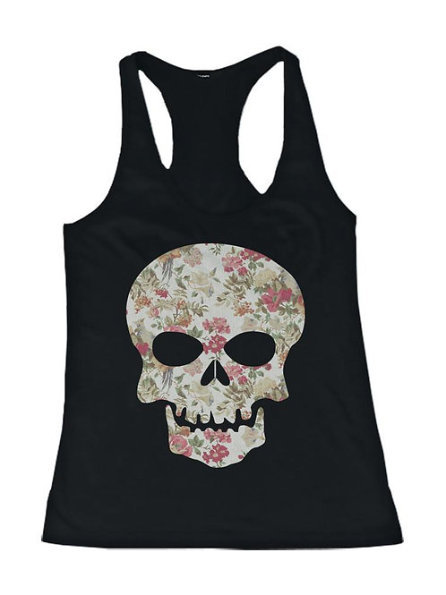 Floral Skull Women's Tank Top Flower Pattern Tank for Chiropractic Lovers