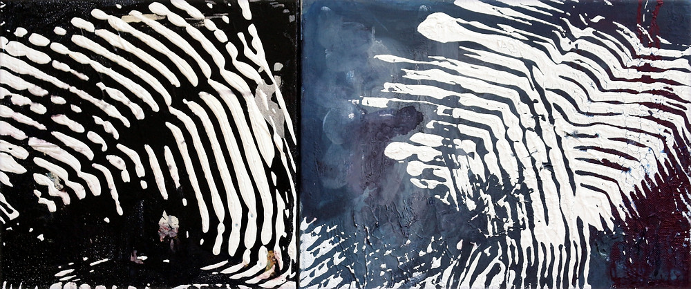 Mirela Iordache, Fingerprints, diptych 70 X 30 cm. Courtesy of the Artist