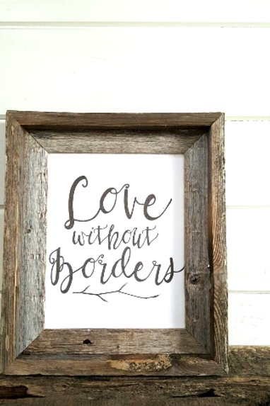 Love Without Borders Rustic Barnwood Framed Art