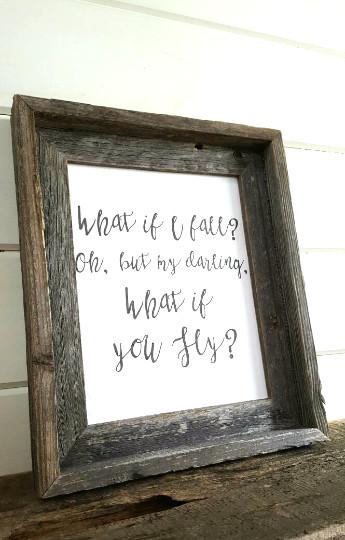What If I Fall Rustic Barnwood Framed Art