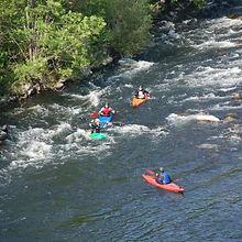 Kayak en rivière sur l'Eyrieux