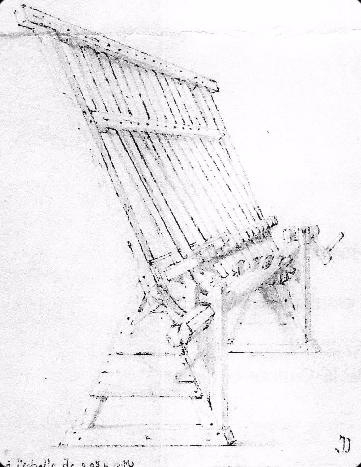 Simandre de la cathédrale de Bourges, dessin de J. Dumoutet, XIXème s.
