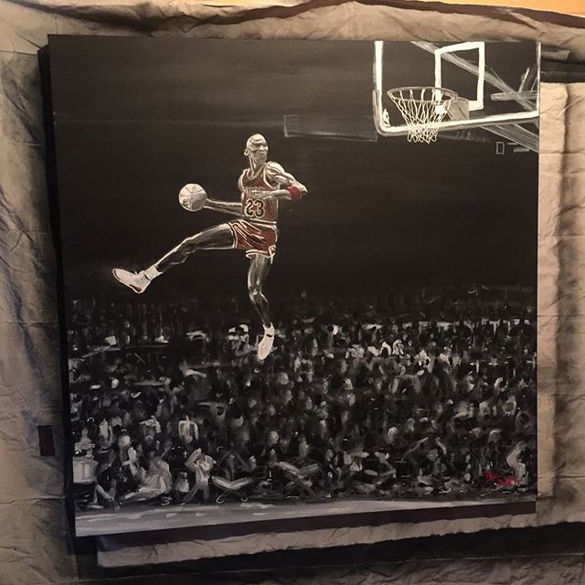 My latest painting! #michaeljordan #dunkcontest  #mj #painting #acrylics #dunking #basketball #nba #
