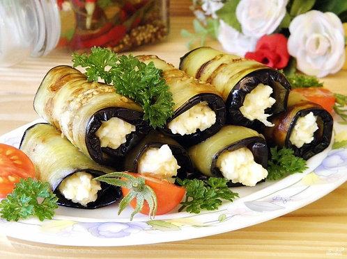 Рулеты из баклажан с домашним сыром