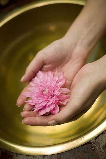 Relaxed massage hands