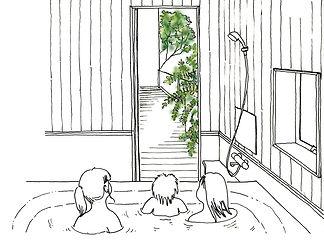 風呂場と中庭の関係