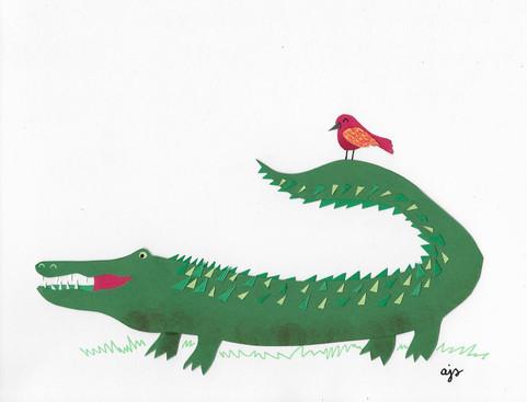 collage crocodile and bird