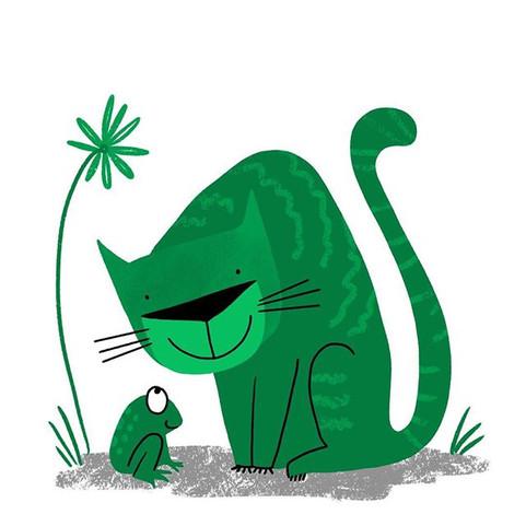 cat meets frog