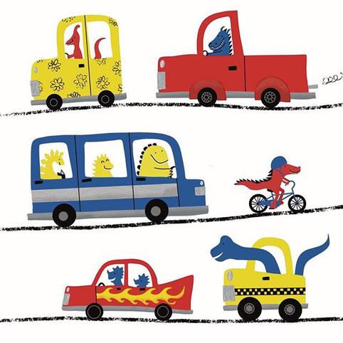Dinosaurs on wheels