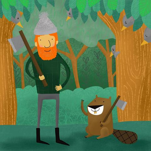 lumberjack and beaver