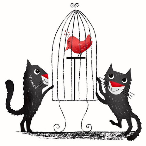 Two cats and red bird