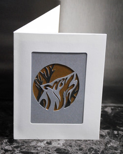 Cut Paper Wolf Greeting Card