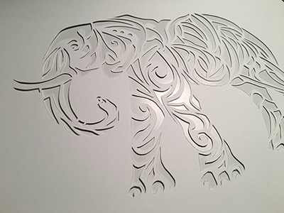 Cut Paper Elephant Series