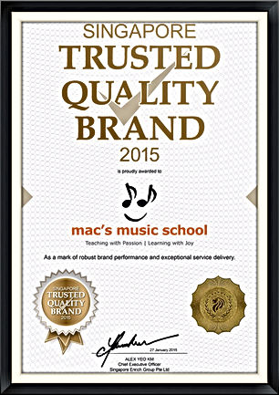 Singapore Trusted Quality Brand 2015 Mac's Music School