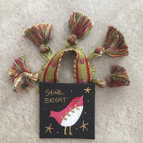 """""""Shine Bright"""" Cranberry Bird Ornament"""